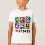 I Love Sports Pandas T-Shirt