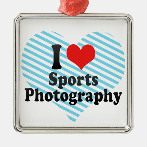 I Love Sports Photography Square Metal Christmas Ornament