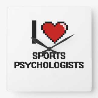 I love Sports Psychologists Square Wall Clocks