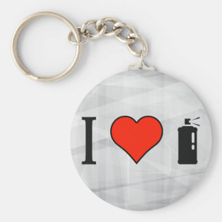 I Love Spray Can Basic Round Button Keychain