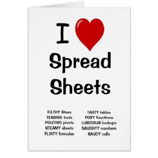 I Love Spreadsheets Birthday Card
