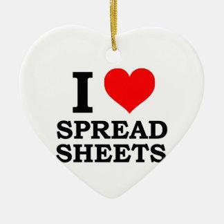 I Love Spreadsheets Ceramic Ornament