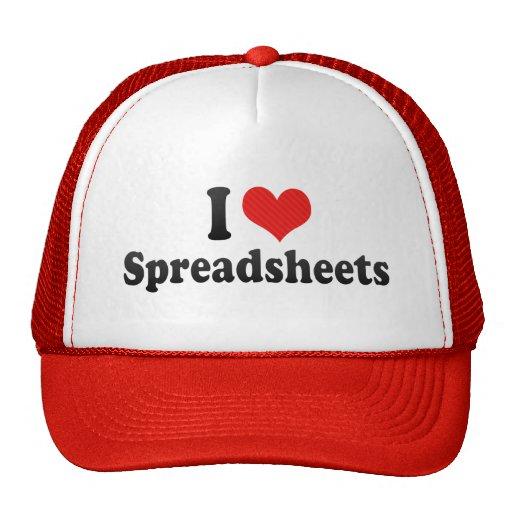 I Love Spreadsheets Hats