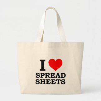 I Love Spreadsheets Large Tote Bag