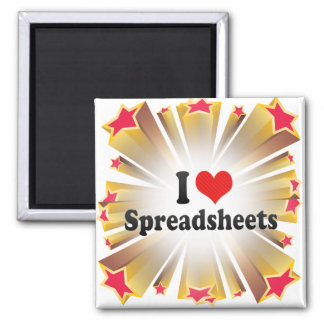 I Love Spreadsheets 2 Inch Square Magnet