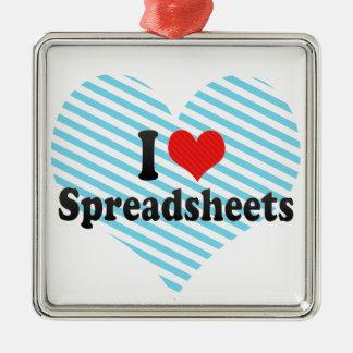 I Love Spreadsheets Metal Ornament