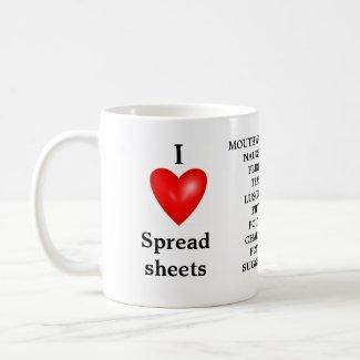 I Love Spreadsheets - Spreadsheet Love Me mug