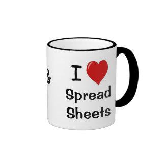 I Love Spreadsheets & Spreadsheets Love Me Ringer Mug