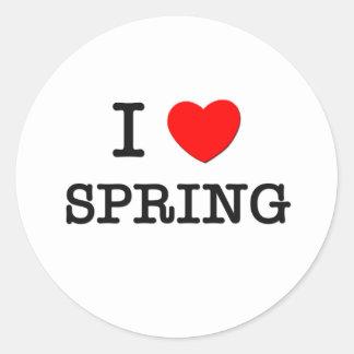 I Love Spring Round Sticker