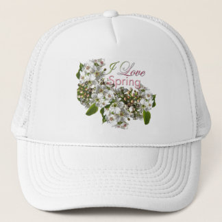 I Love Spring White Blossoms Hat