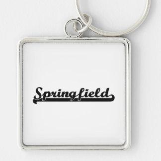 I love Springfield Illinois Classic Design Silver-Colored Square Keychain