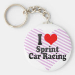 I love Sprint Car Racing Basic Round Button Keychain