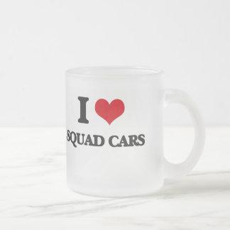 I love Squad Cars Frosted Glass Mug