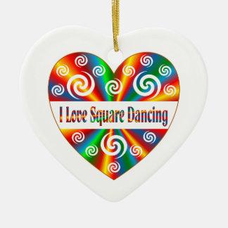 I Love Square Dancing Ceramic Ornament