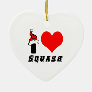 I Love Squash Design Double-Sided Heart Ceramic Christmas Ornament