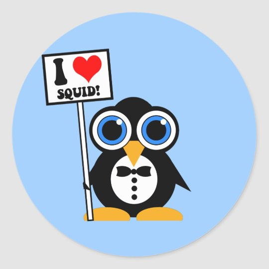 I love squid classic round sticker