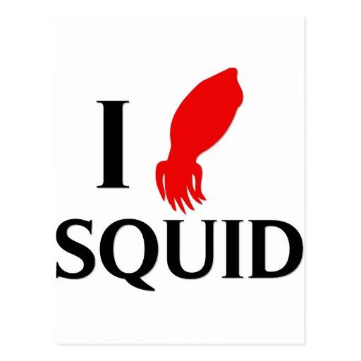 I Love Squid Postcard