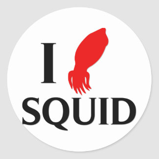 I Love Squid Round Sticker