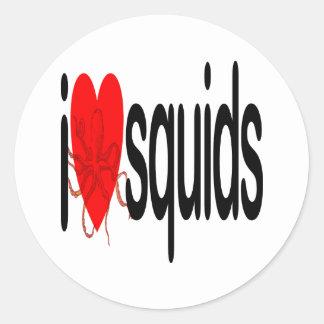 I Love Squids Classic Round Sticker