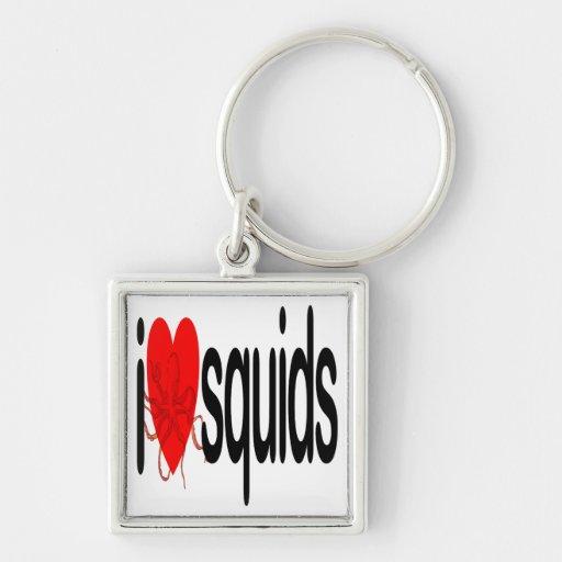 I Love Squids Keychain