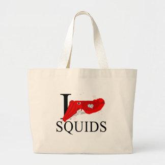 I Love Squids Tote Bags
