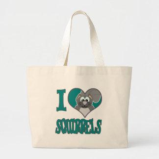 I Love squirrels Canvas Bags
