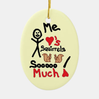 I Love Squirrels Cartoon Ceramic Ornament