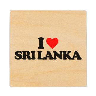I LOVE SRI LANKA WOOD COASTER