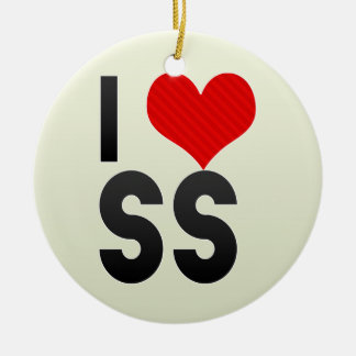 I Love SS Double-Sided Ceramic Round Christmas Ornament