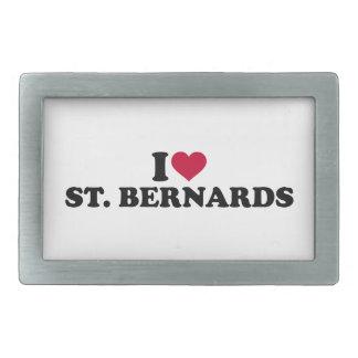 I love St. Bernards Rectangular Belt Buckle