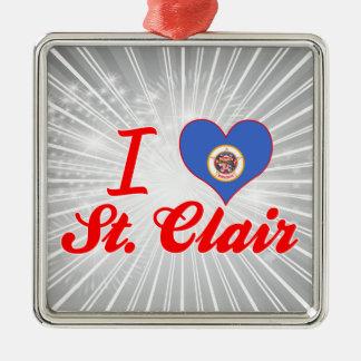 I Love St. Clair, Minnesota Square Metal Christmas Ornament