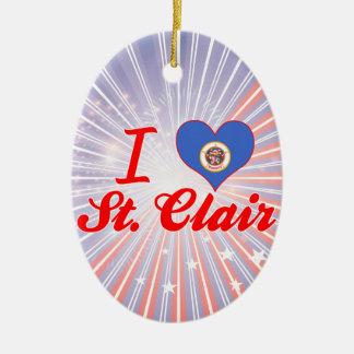 I Love St. Clair, Minnesota Double-Sided Oval Ceramic Christmas Ornament