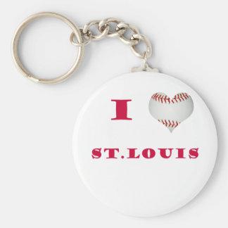 I Love St. Louis Baseball Keychain