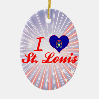 I Love St. Louis, Michigan Double-Sided Oval Ceramic Christmas Ornament