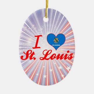 I Love St. Louis, Oklahoma Double-Sided Oval Ceramic Christmas Ornament