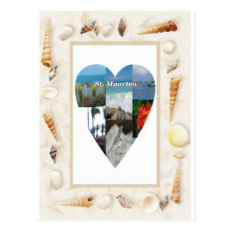 I love St. Maarten Shells Heart -.Celeste Sheffey Postcard
