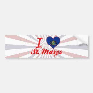 I Love St Marys Pennsylvania Bumper Sticker