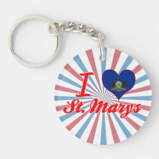 I Love St. Marys, Pennsylvania Single-Sided Round Acrylic Keychain