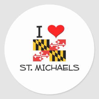 I Love St. Michaels Maryland Classic Round Sticker