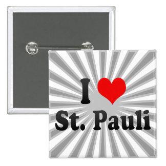 I Love St Pauli Germany Button