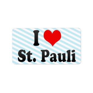I Love St Pauli Germany Address Label