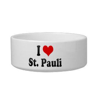 I Love St Pauli Germany Cat Water Bowls