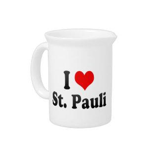 I Love St Pauli Germany Beverage Pitcher