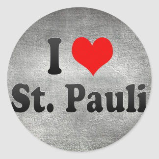 I Love St Pauli Germany Round Stickers