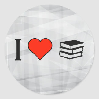 I Love Stack Of Books Classic Round Sticker
