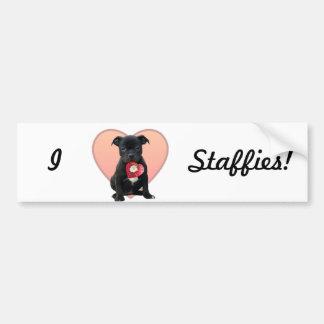 I Love Staffies bumper sticker Car Bumper Sticker