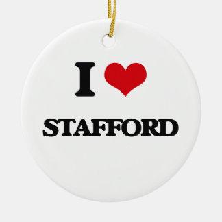I Love Stafford Round Ceramic Ornament