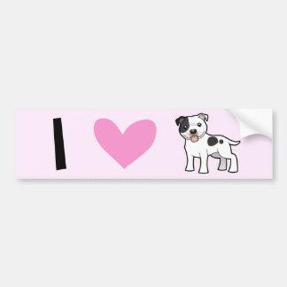 I Love Staffordshire Bull Terriers / Pit Bulls Bumper Stickers