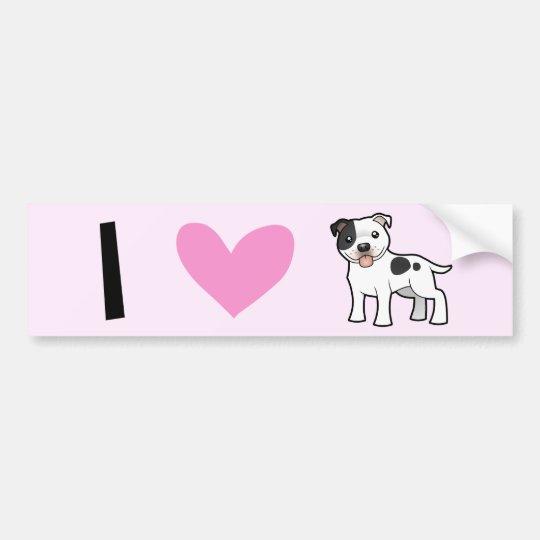 I Love Staffordshire Bull Terriers / Pit Bulls Bumper Sticker