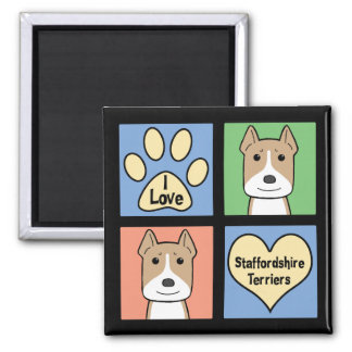 I Love Staffordshire Terriers 2 Inch Square Magnet